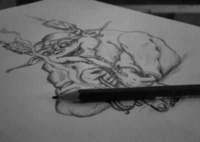 Dessin personnel, fantastique au crayon