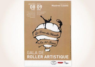Création d'une affiche pour un gala de roller sur Le Tour du Monde en 80 Jours